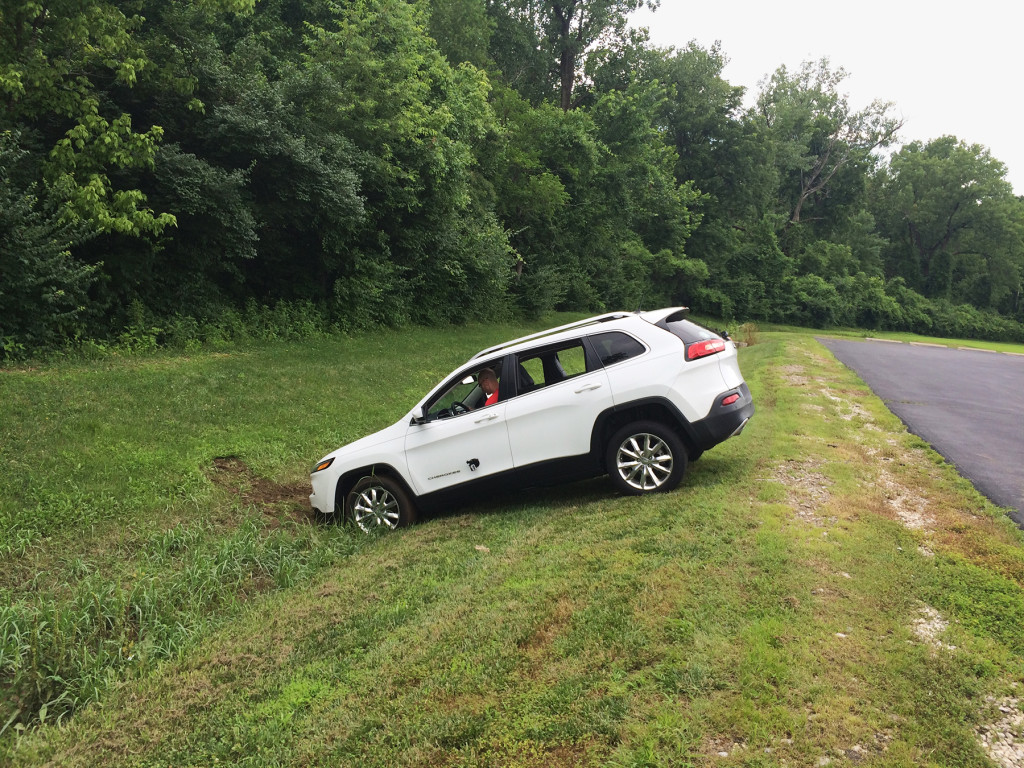Jeep driven remotely into a ditch